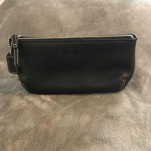 Coach Leatherware Black Top Zip Cosmetic Bag